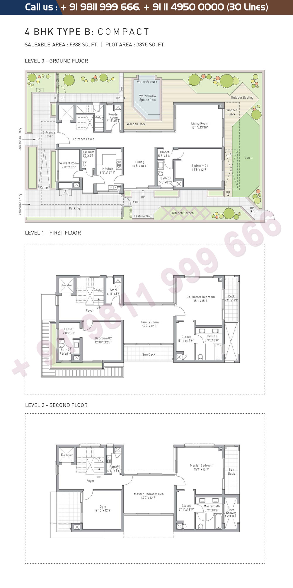 4 BHK Type B Compact: 5988 Sq.Ft.