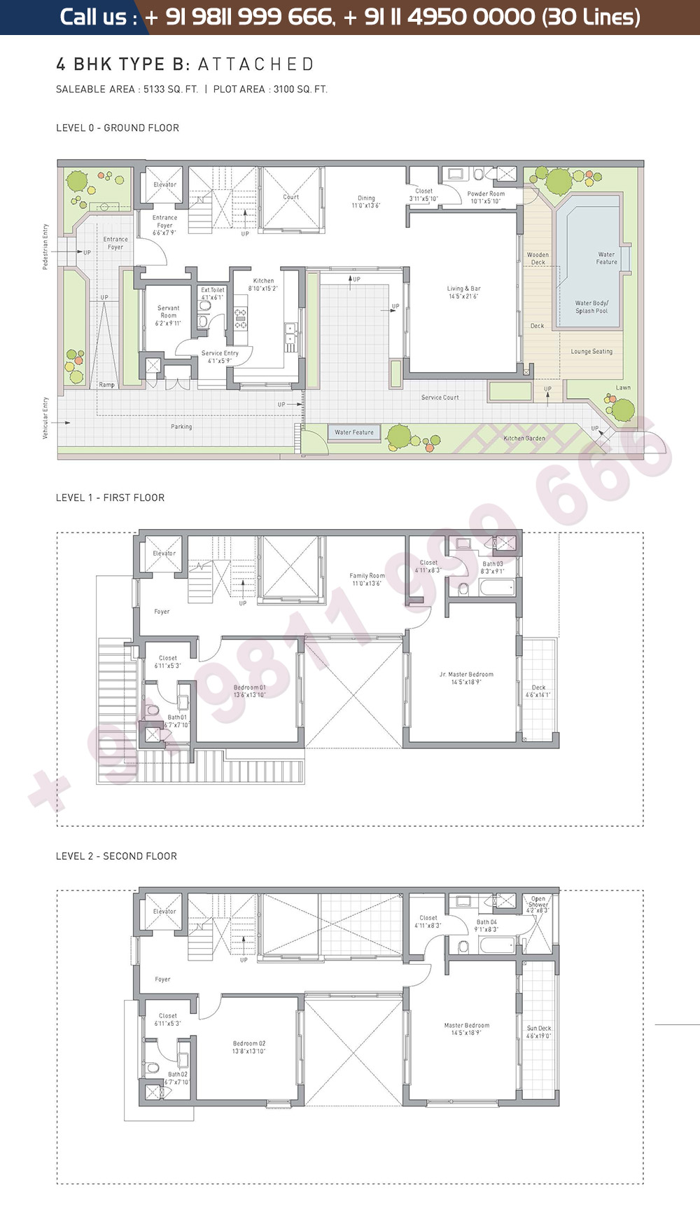 4 BHK Type B Attached: 5133 Sq.Ft.