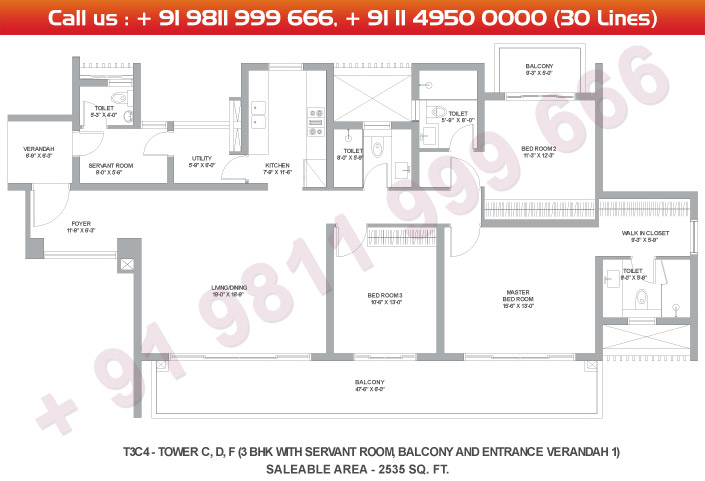 Tower C, D & F 3 BHK Large Type 3C4 : 2535 Sq.Ft.
