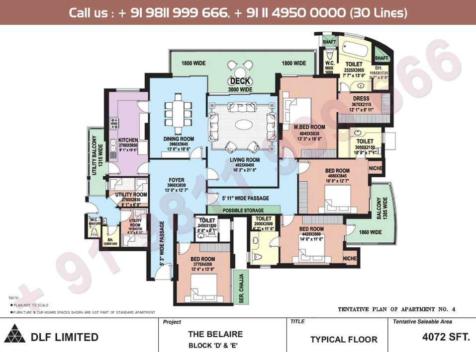 Block D, E Apartment No. 4 Floor Plan : 4072 Sq.Ft.