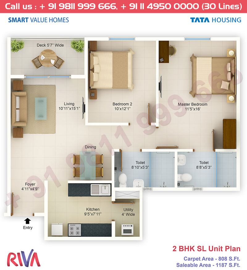 2 BHK SL Unit: 1187 Sq.Ft.