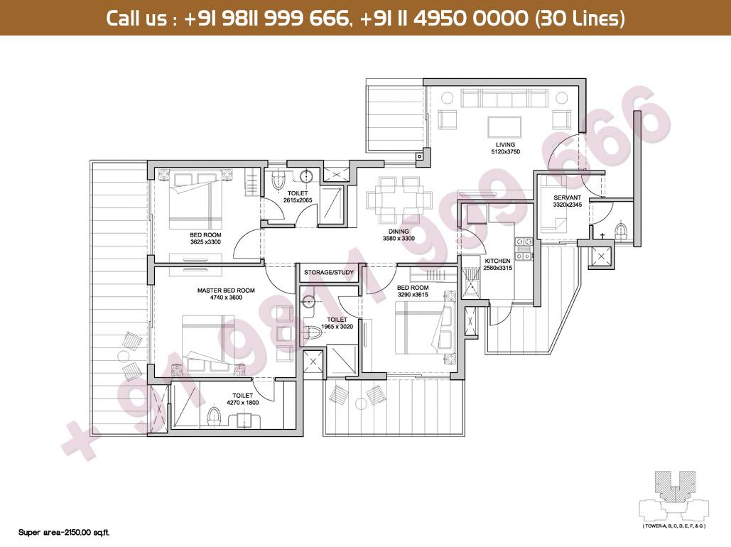 3 BHK Floor Plan: 2015 Sq.Ft.