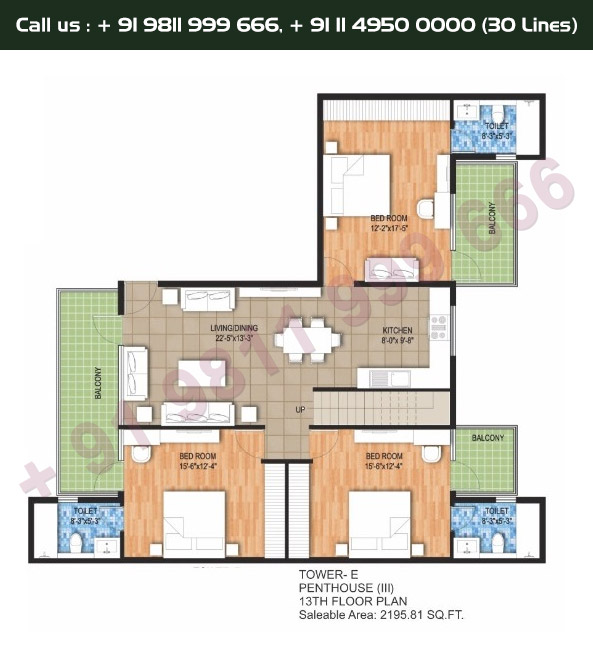 Tower E, 13th Floor, 3 BHK Type 3: 2198 Sq.Ft.