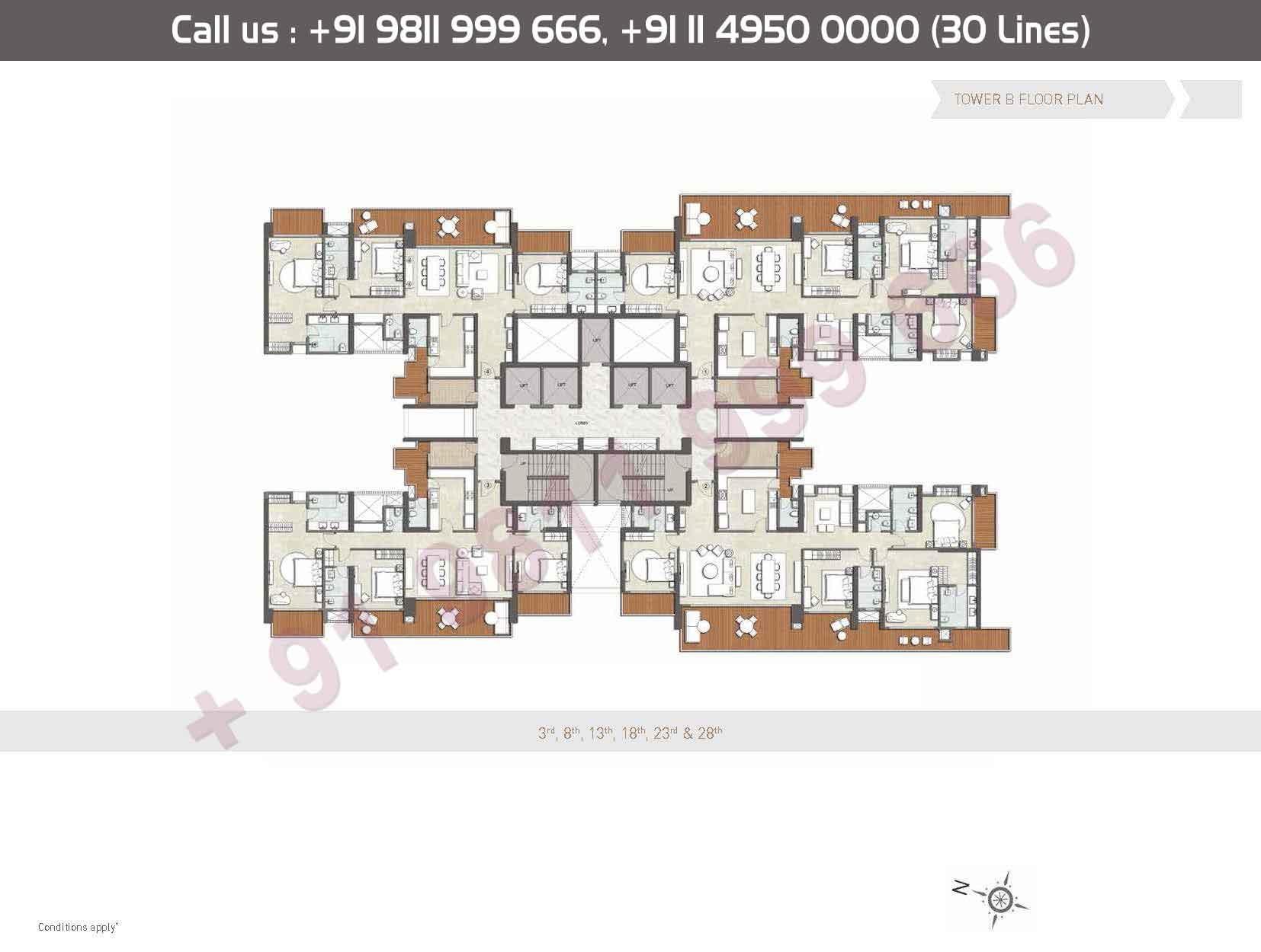 Floor: - 3rd,8th,13th,18th,23rd,28th