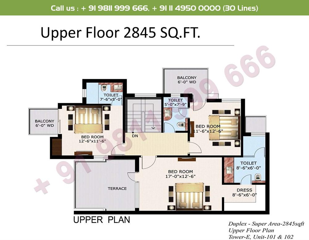 4 BHK+ S Duplex Upper Level : 2845 Sq.Ft.