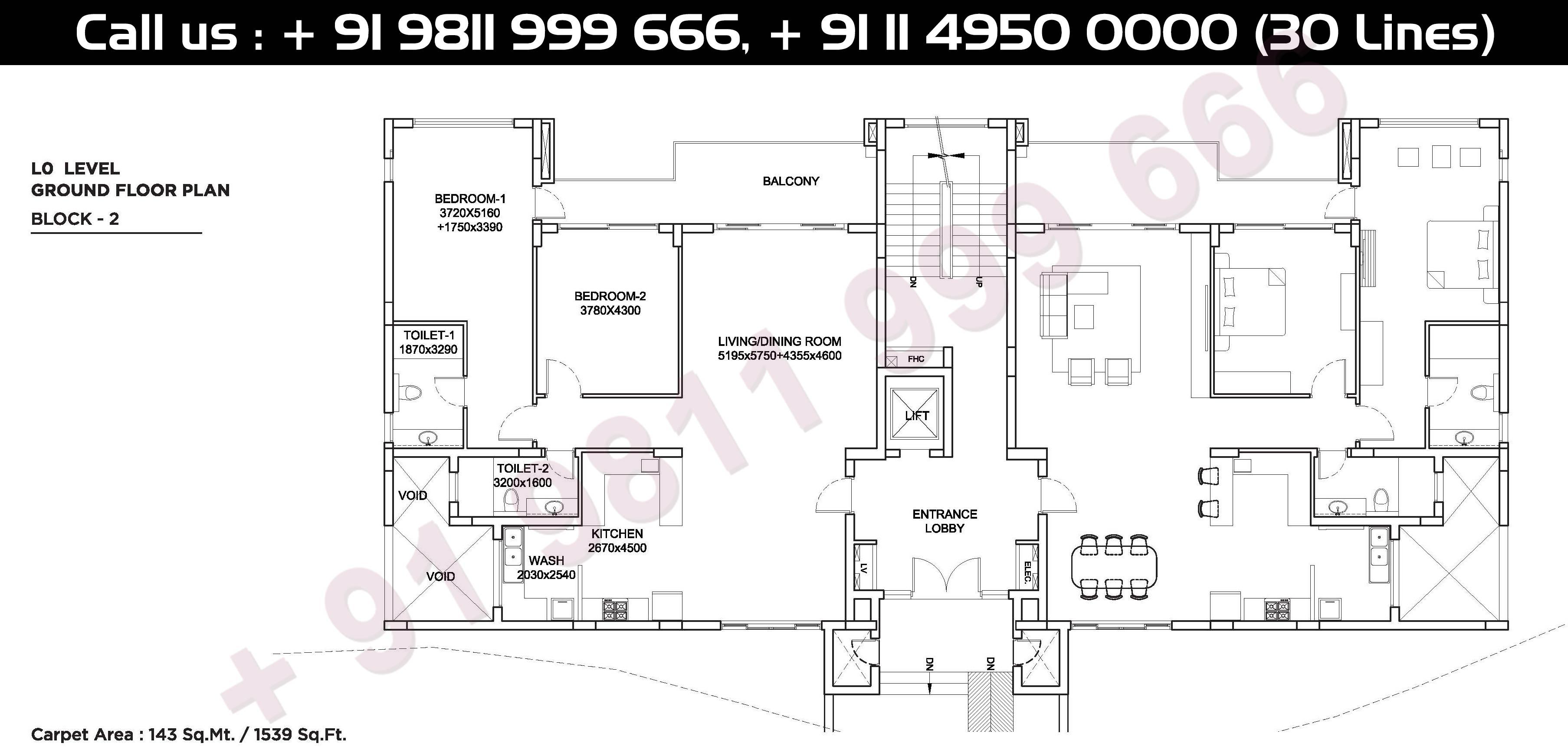 Ground Floor, Block - 2, 0, Level Carpet Area, 143 Sqmt: 1539 Sq. Ft