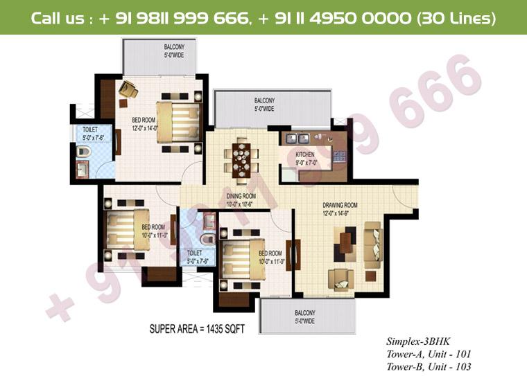 3 BHK Simplex : 1435 Sq.Ft.