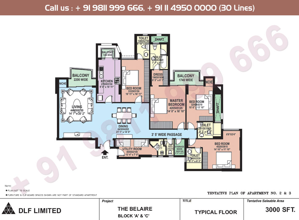 Block A, C Apartment No. 2&3 Floor Plan : 3000 Sq.Ft.
