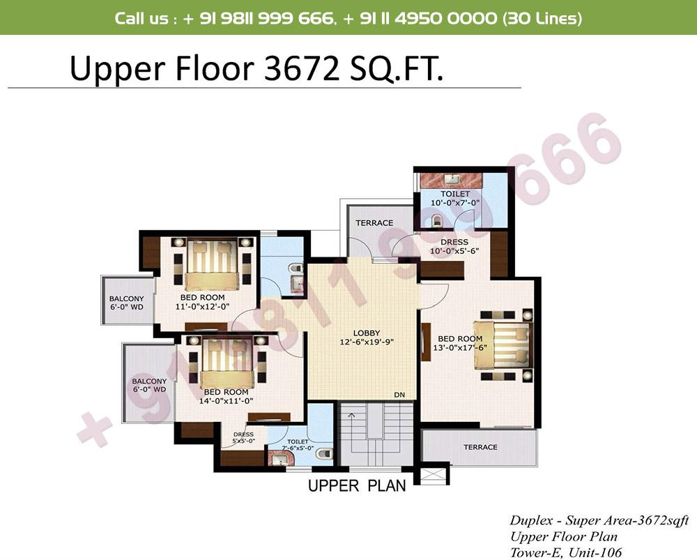 5 BHK+ S Duplex Upper Level : 3672 Sq.Ft.