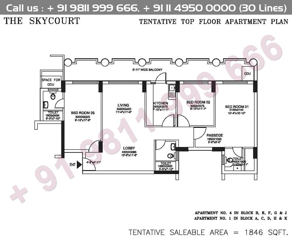 Tentative Top Floor Apartment Plan : 1846 Sq.Ft.