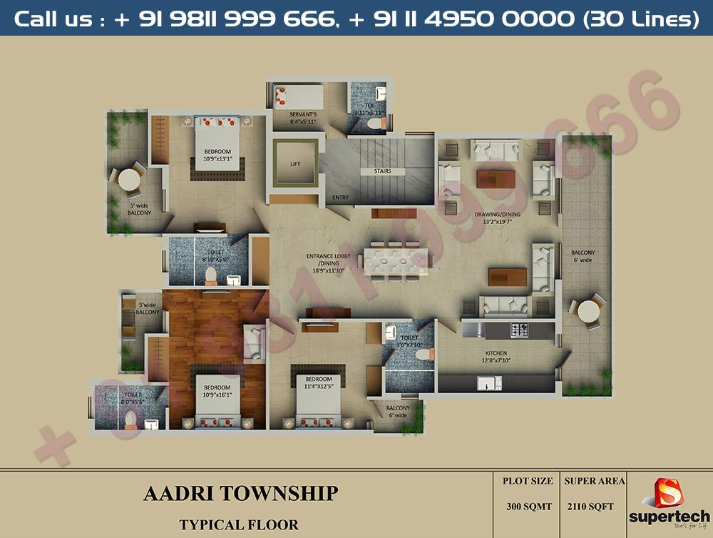 3 BHK Floor Plan : 2110 Sq.Ft.