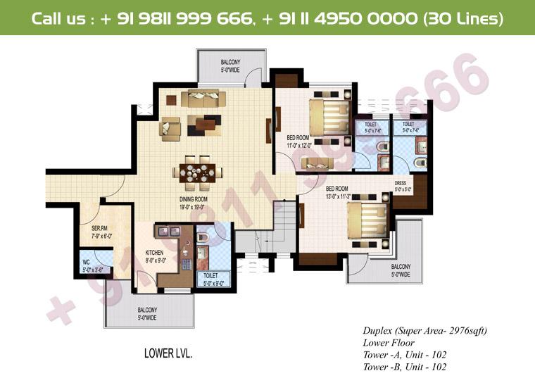 5 BHK + S Duplex Lower Floor : 2976 Sq.Ft.