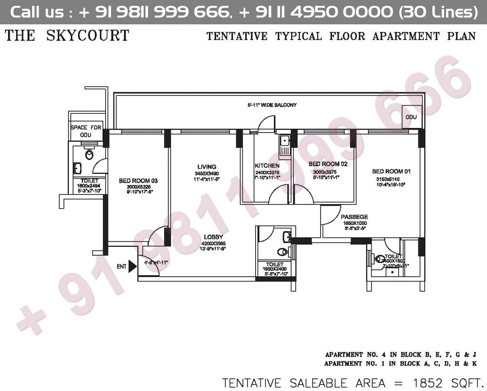 Tentative Typical Floor Apartment Plan : 1852 Sq.Ft.