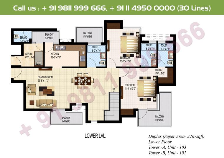 5 BHK + S Duplex Lower Floor : 3267 Sq.Ft.