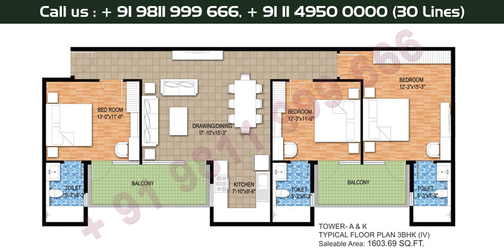 Tower A & K, Typical Floor Plan, 3 BHK Type 4: 1603 Sq.Ft.