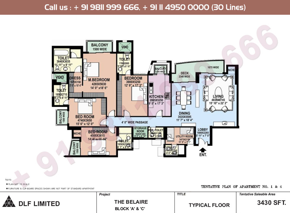 Block A, C Apartment No. 1&4 Floor Plan : 3430 Sq.Ft.