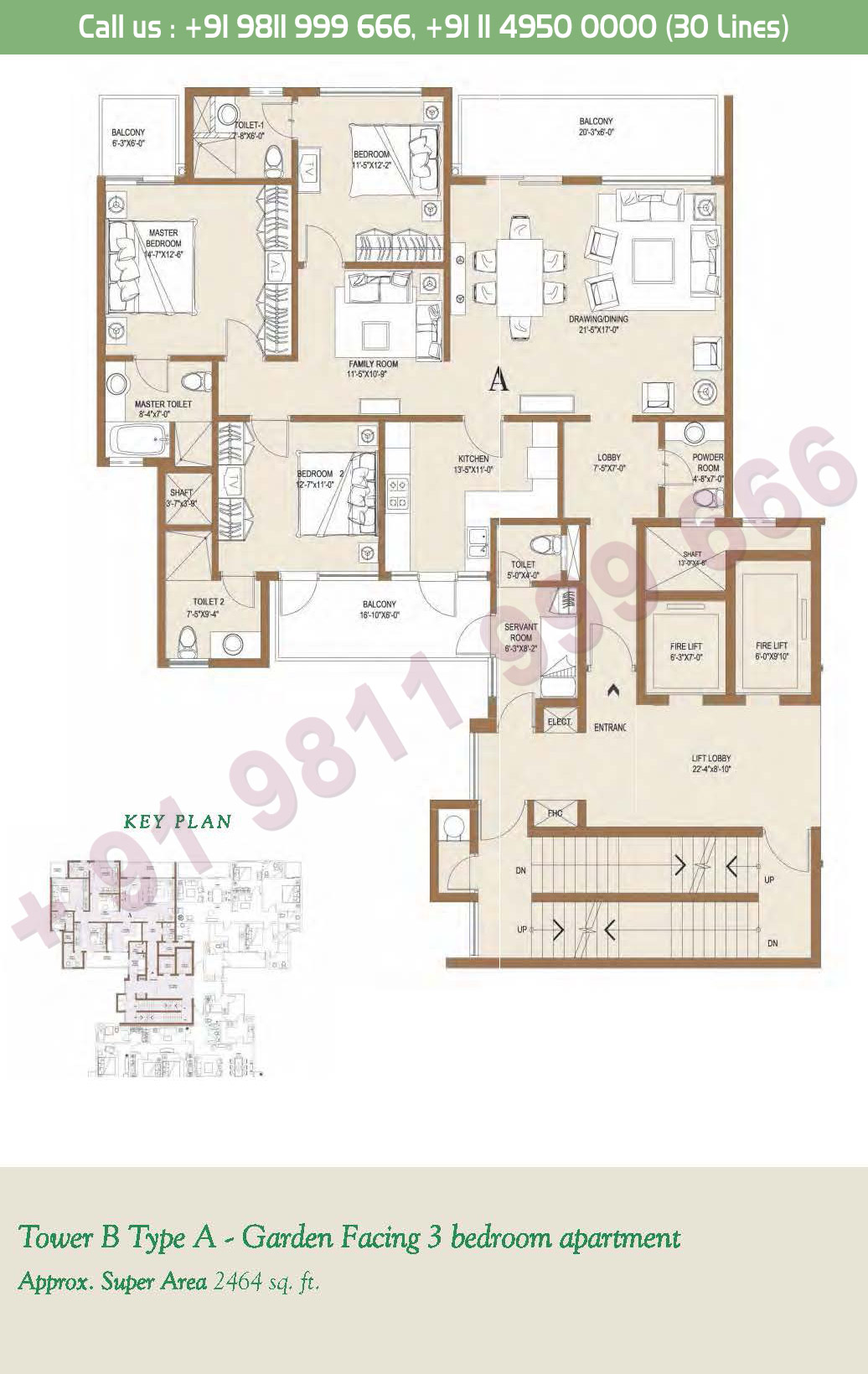 Tower - B, Type - A, 3BHK: 2464 Sq. Ft
