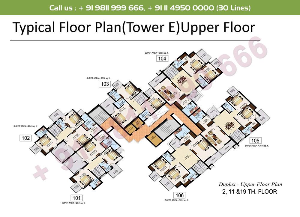 Typical Floor Plan Duplex Upper Level