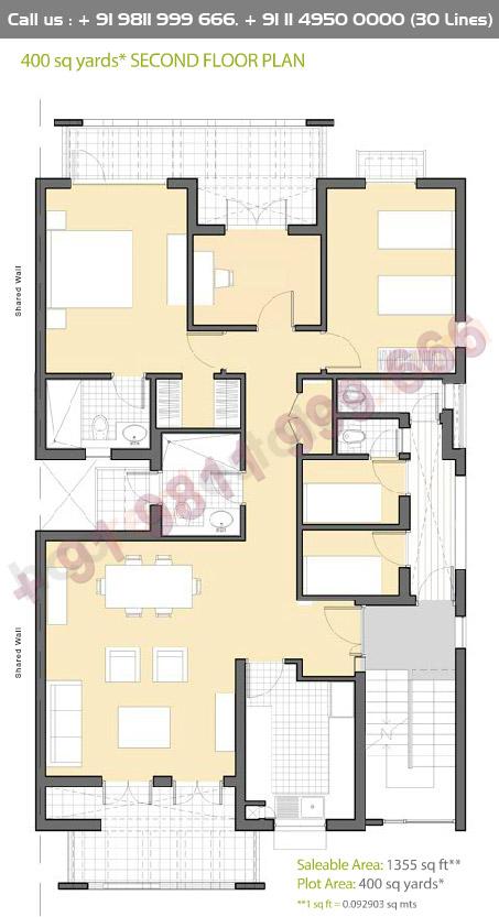 Second Floor Plan : 1355 Sq.Ft.