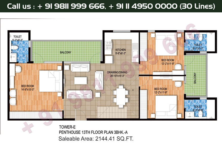 Tower E, 13th Floor, 3 BHK Type 1: 2144 Sq.Ft.
