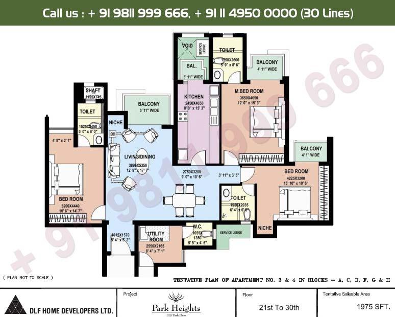 3 BHK 21st - 30th Floors : 1975 Sq.Ft.