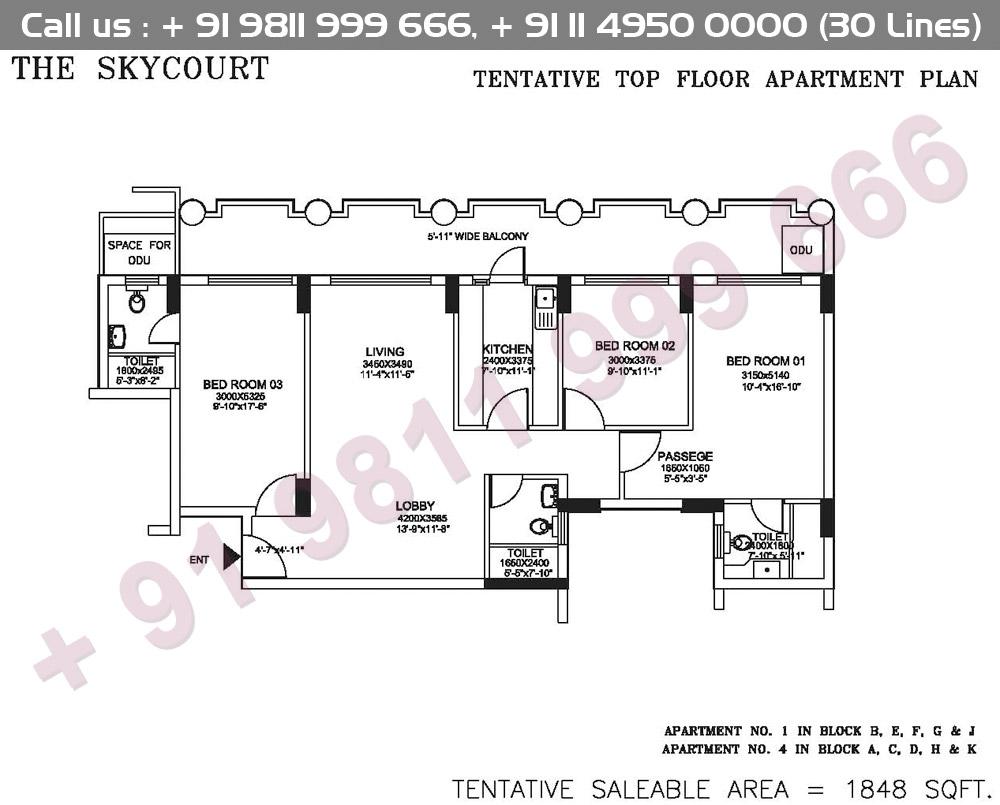 Tentative Top Floor Apartment Plan : 1848 Sq.Ft.