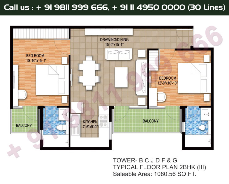 Tower B, C, J, D, F & G, Typical Floor Plan, 2 BHK Type 3: 1080 Sq.Ft.
