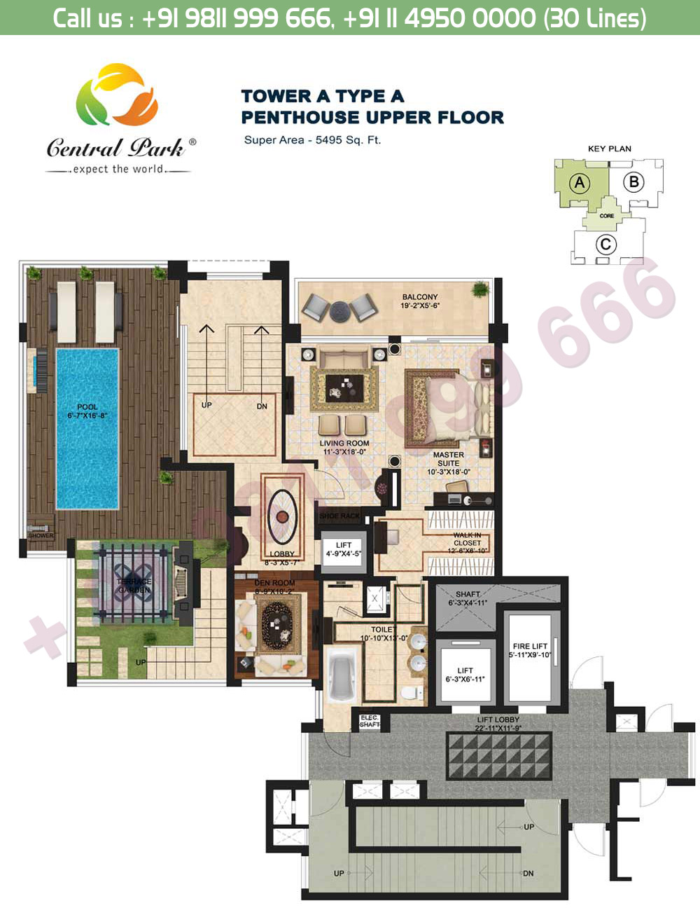 Tower - A, Type - A, Penthouse Upper Floor:  5495 Sq. Ft