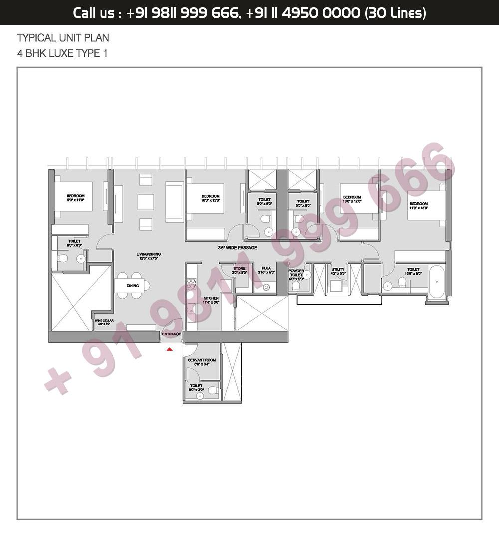 Type 1 4 BHK Floor Plan