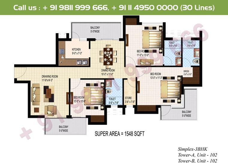 3 BHK Simplex : 1548 Sq.Ft.