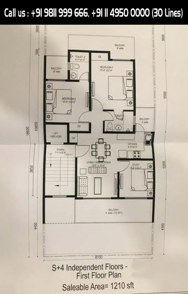 First Floor Plan, Salable Area : 1210 Sq. Ft.
