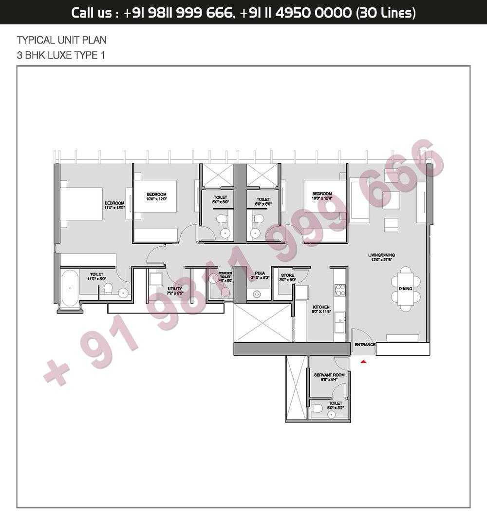 Type 1 3 BHK Floor Plan