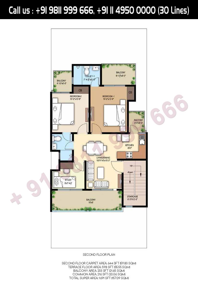 Second Floor Plan Total Super Area: 1691 Sq. Ft.