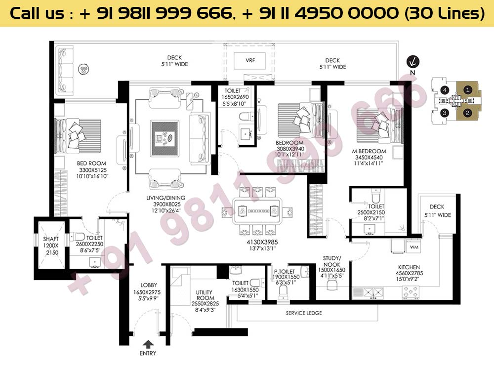 3 BHK + Utility Apt No 1 2 Typical Floor 2nd To 26th : 2662 Sq.Ft.