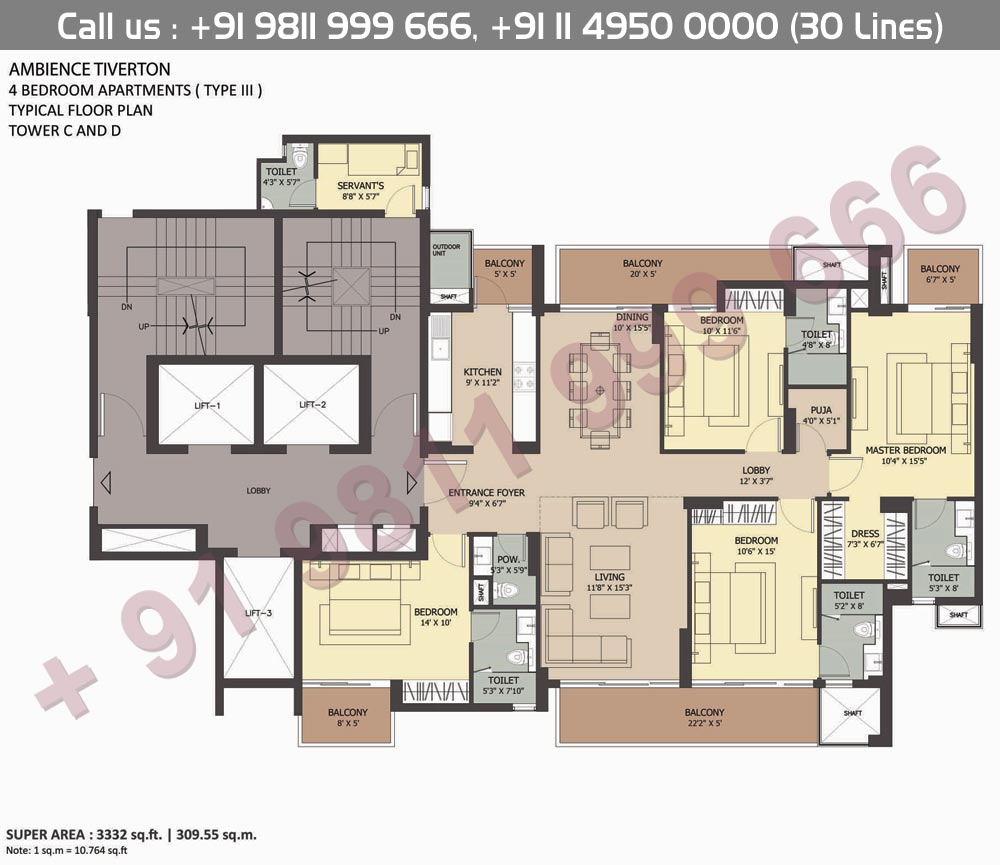4BHK Type III : 3332 Sq.Ft