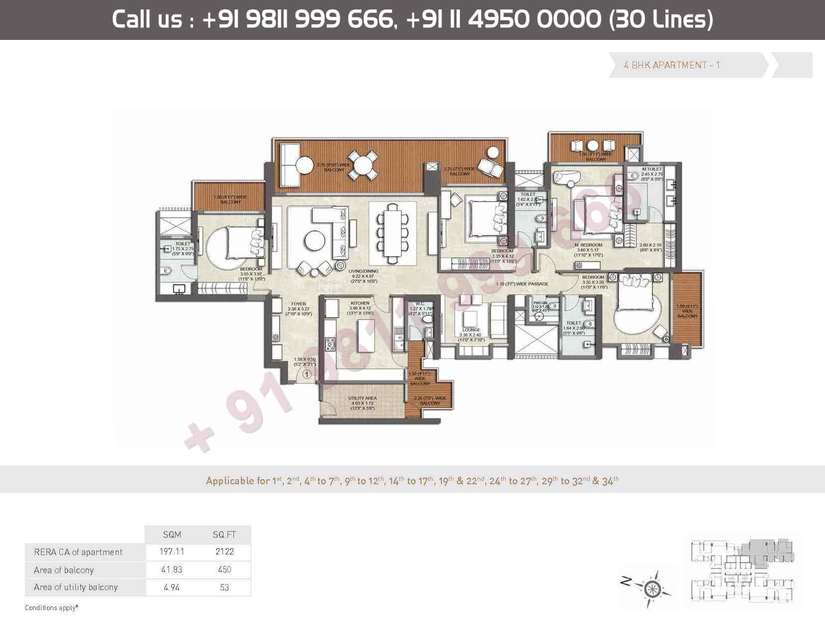 Apartment - 1 : 2122 Sq. Ft.