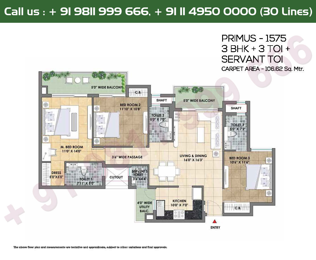 3 Toi, Servent Toi, Super Area: 1575 Sq. Ft