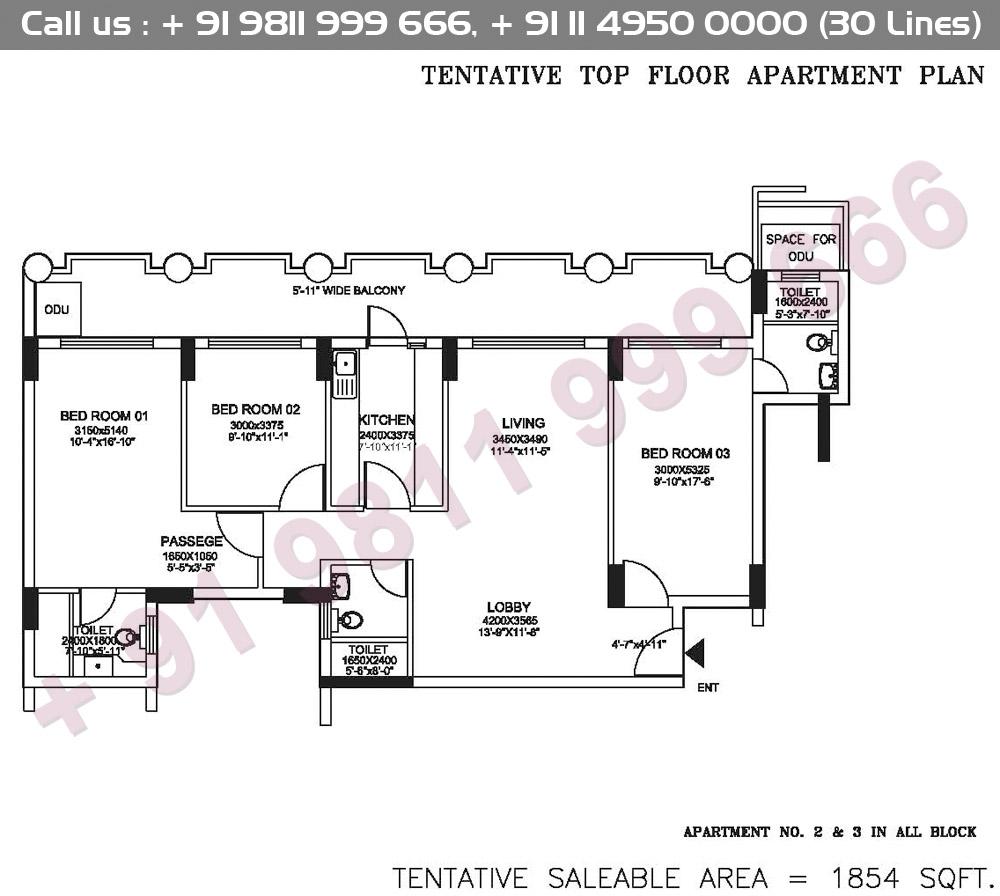 Tentative Top Floor Apartment Plan : 1854 Sq.Ft.