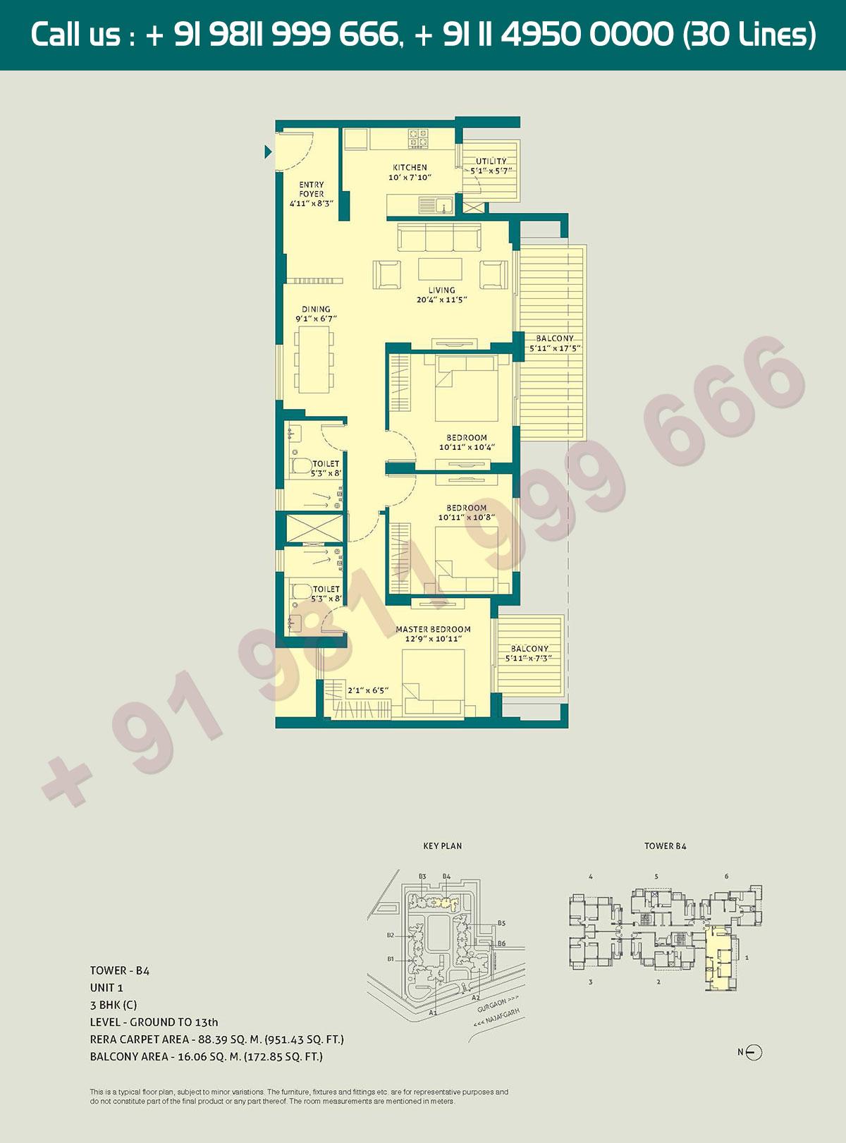 3 BHK - (C), Level Ground to 13, Unit - 1, Tower - B4