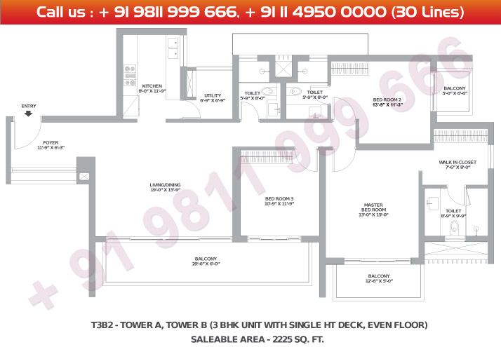 Tower A & B 3 BHK Small Type 3B2 : 2225 Sq.Ft.