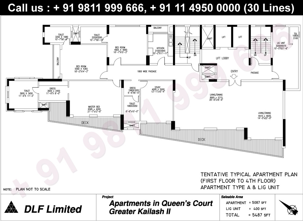Apartment Type A & LIG Unit (1st to 4th Floor) : 5487 Sq.Ft.