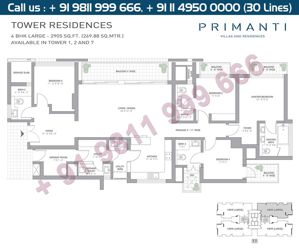 4 BHK Large : 2905 Sq.Ft