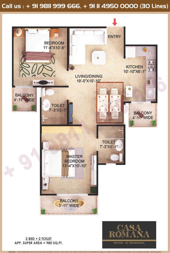 2 BHK Floor Plan : 980 Sq.Ft.