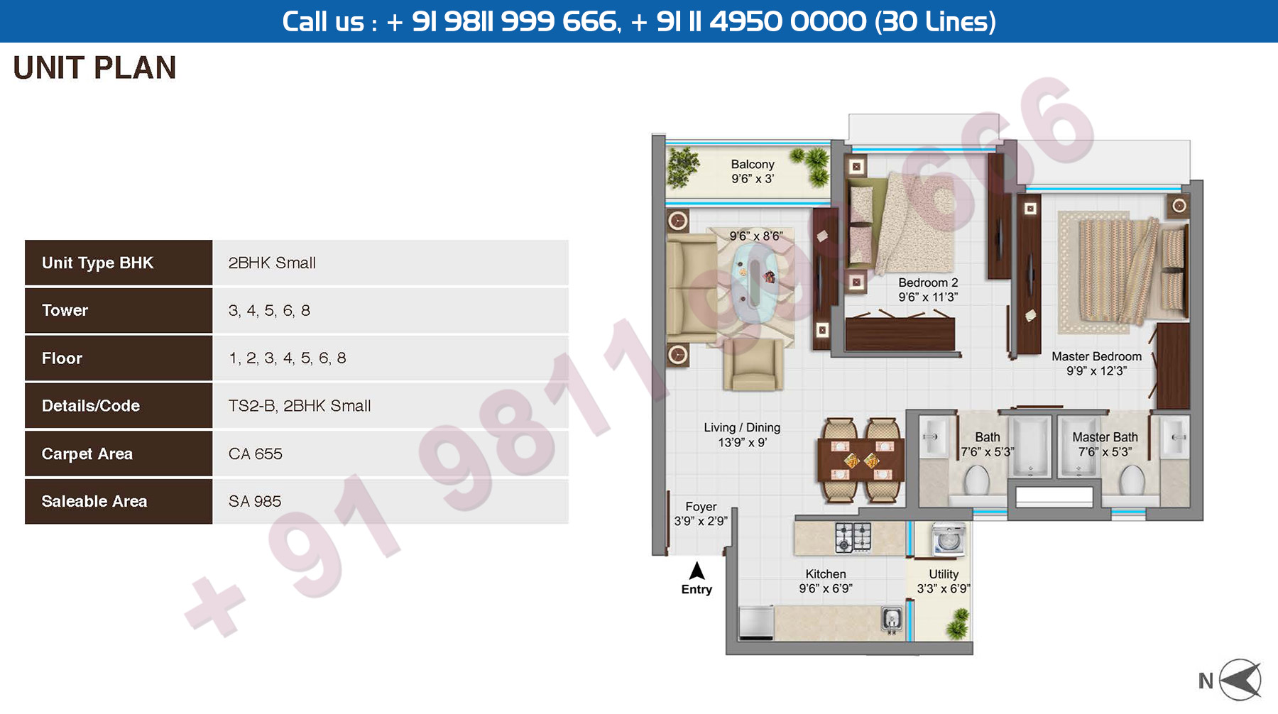 2 BHK Small Type B : 985 Sq.Ft