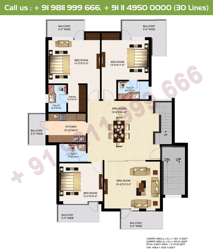 Executive 1, 2 & 3 Duplex Lower Floor Plan
