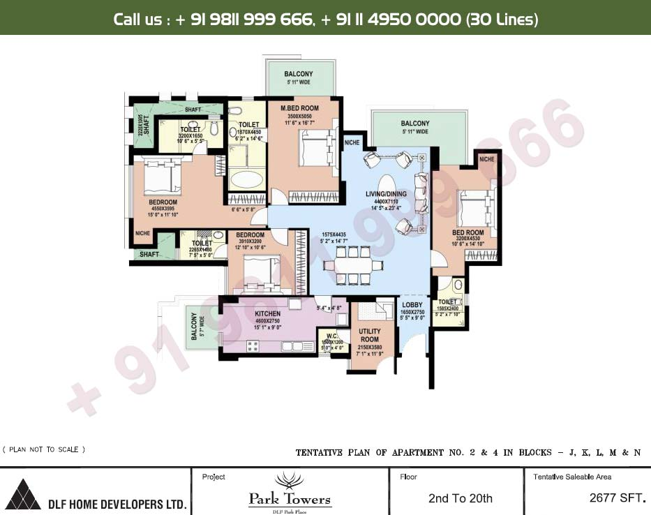 4 BHK Apartment No. 2 & 4 2nd - 20th Floor : 2677 Sq.Ft.