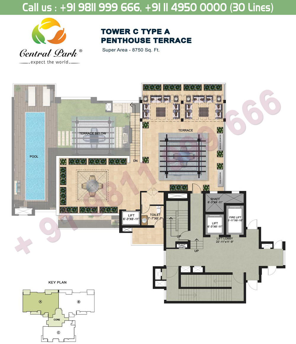 Tower - C, Type - A, Penthouse Terrace Floor:  8750 Sq. Ft