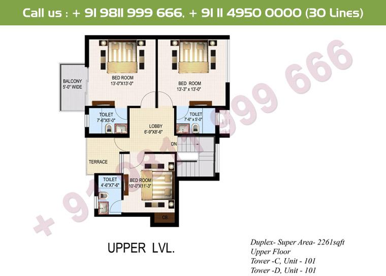 4 BHK+ S Duplex Upper Floor : 2261 Sq.Ft.