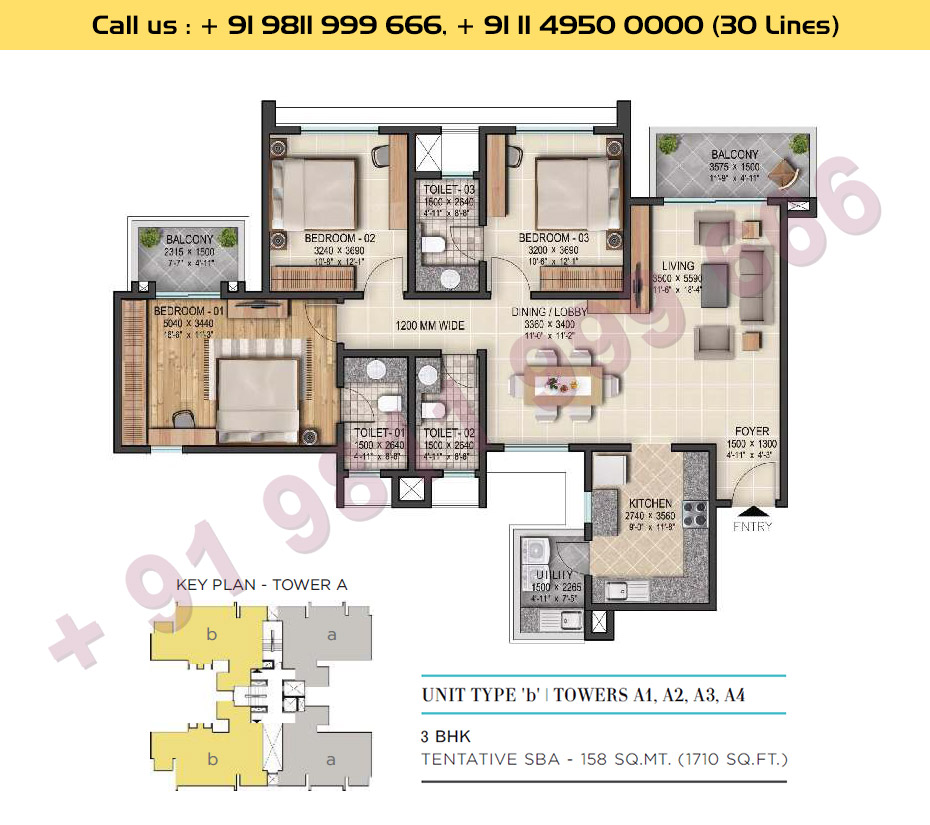3 BHK, Type - B, Tower - A1, A2, A3, A4: 1710 Sq. Ft.