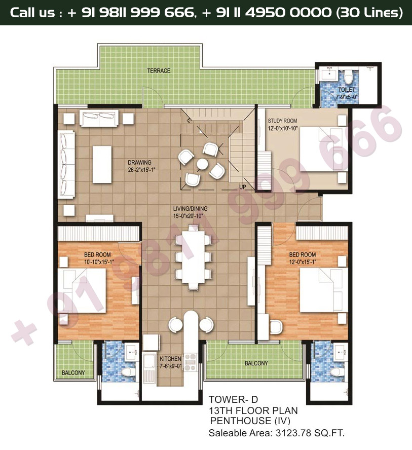 Tower D, 13th Floor, 2 BHK Type 4: 3123 Sq.Ft.